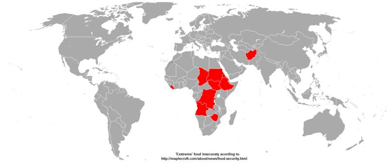 Thiếu lương thực 'trầm trọng' (màu đỏ) - Số liệu 2010. Nguồn Wikipedia